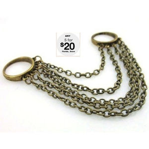 Jewelry - Double Ring & Chains ~ Bronze